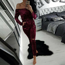 New Womens Crushed Velvet Casual Tops T Shirt Party Jumpsuit Playsuit Mini Dress