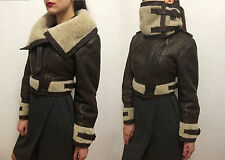 BURBERRY PRORSUM Ladies Funnel Neck Shearling Aviator Jacket Sz 38 Made in Italy