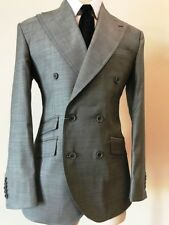 Grey super 150 Cerruti double breasted wool suit with wide peak lapel