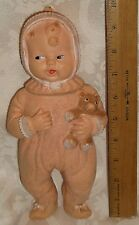VINTAGE JEMLEE INC RUBBER SQUEEZE SQUEAK BABY DOLL IN PINK SLEEPER W/TEDDY BEAR