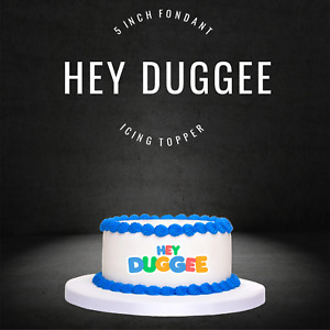 """PRE CUT 5"""" Hey Duggee Edible Icing Logo Blue Cake Topper Decorations Birthday"""
