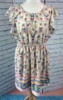 Yumi Tea Dress Postage Stamp Print Cream Short Sleeve Size 14 Elasticated Waist