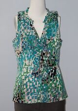 ANN TAYLOR Size 8 Green Ruffled V-Neck Button Down Sleeveless Blouse