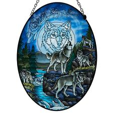 "Wolves and Moon Hand Painted Glass Suncatcher By Amia Studios 8.75"" x 6.5"" New"