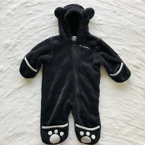 Columbia 3-6 Month Infant Baby Black Bear One Piece Suit Warm Hood With Ears Paw