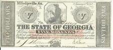 $5 Milledgeville Georgia 1862 Signed  Crisp Uncirculated Seal Reverse CR5 #28074