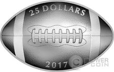 FOOTBALL SHAPED AND CURVED Convex Silver Coin 25$ Canada 2017