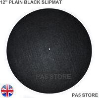 "2x 12"" Plain Black Turntable Slip Mat DJ Sony Technics Vestax Stanton Numark UK"