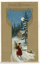 PERE NOEL. SANTA CLAUS. CHRISTMAS. ROBE ROUGE . RED DRESS.
