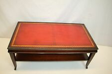 Antique English Mahogany Tiered Leather Top Table in Great Condition, C. 1920's