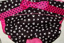 NEW! LULIBOOS DESIGNER DOG PANTY BRITCHES DIAPER WHITE PAWS ON BLACK COTTON