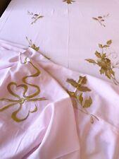Vintage D Porthault Nappe Coton Rose Broderies Fils Doré Avec 12 Serviettes