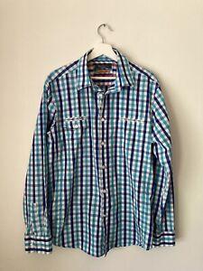 Ben Sherman, size XXL, long sleeve casual shirt, blue check, roll up tabs.