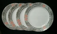 "4 Corelle Silk and Roses 7 1/4"" Salad/Dessert/Bread Plates Black Pink Flowers"