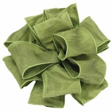 """New 1.5"""" Offray Anisha Chartreuse Green Wired Edge Ribbon, 5 Yards Off Roll"""
