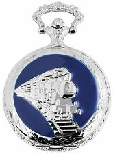 Pocket Watch White Silver Blue Railroad Train Locomotive W-50742413330399