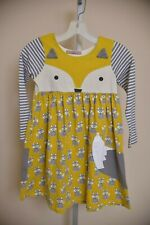 Jelly The Pug Furry Friends Fox Knit Dress Gray Yellow Striped Girls size 10