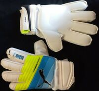 Puma EvoPOWER Protect 3.3 Soccer Goalie Gloves - White/Atomic Blue/Safety Yellow