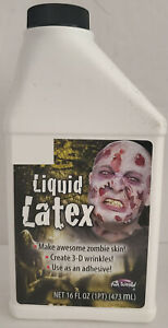 Liquid Latex, Clear, Halloween Zombie Makeup Skin, Wounds, 16 OZ. Sealed