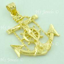 14k solid yellow gold JESUS CHRIST cross Anchor pendant Mariner #6095  3.30 gram