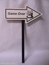 Wedding Party Reception Bridal Shower Game Over~  Bride & Groom Sign Cake Topper