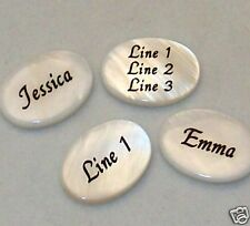 4 PERSONALIZED White Mother-of-pearl Shell Beads 18x13