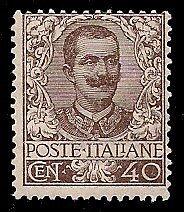 REGNO D'ITALIA 1901 - 40 c. n. 74 FLOREALE NUOVO CERTIFICATO DIENA € 1000