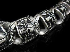 TheBikerMetal 150 g Heavy SKULL Bone Chain Bracelet for Harley Davidson Biker 82