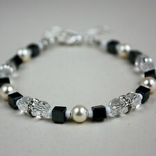 Black hematite white crystals cream pearls wedding silver statement bracelet