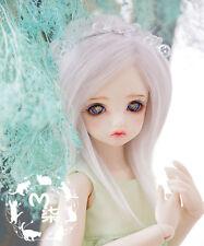 """5-6"""" 14cm BJD fabric fur wig Light Silver Grey for AE PukiFee lati 1/8 Doll"""