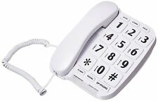 LARGE NUMBER BIG BOTTOM TELEPHONE HANDSET HOME ANSWERING PHONE WHITE SPEAKER NEW