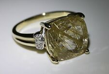 Rutilated Yellow Quartz & Diamond 10k YG Gold Ring NH Signed  6.5 Cushion Cut