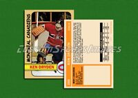 Ken Dryden - Montreal Canadiens - Custom Hockey Card  - 1971-72