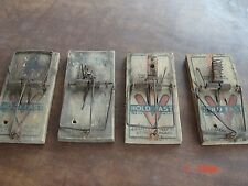 ANTIQUE 4 ANIMAL MOUSE TRAP HOLDFAST VICTOR VINTAGE WOOD RODENT LOT