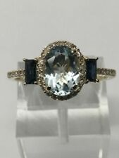 10k Yellow Gold Oval Sapphire and Diamond Ring (size 7)