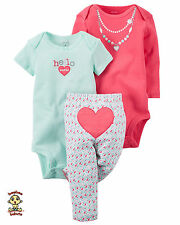 Carter's 3-piece Turn Me Around Set Cute Heart Set newborn Authentic & Brand New