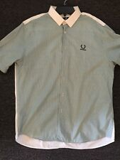 Raf Simons X Fred Perry Shirt (White/Emerald Green) Sz 44