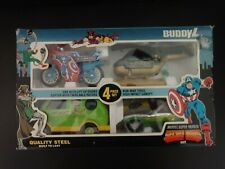 Buddy L - Marvel 4 Piece Set - Car, Van, Motorcycle, Helicopter - MIB