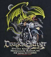 Deal's Gap Motorcycle Resort Dragon Slayer Black Graphic T Shirt Size XL X-Large
