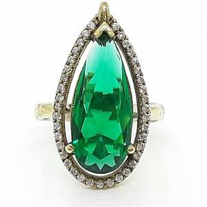 Deco 7.80ctw Emerald & Diamond Cut White Sapphire 14K Yellow Gold Silver Ring