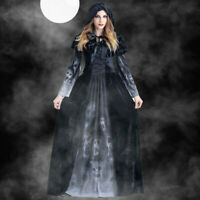 Women Halloween Cosplay Costume Vintage Witch Long Sleeve Hooded Prom Maxi Dress