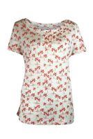 Womens Cream & Pink Palm Print Cotton Short Sleeve Tee T Shirt Top