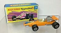 Matchbox Superfast No 34 Formula 1 Racing Car Orange 1970 NMIB