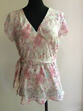 Fashion Womens Ladies TEMT floral tie up Short Sleeves V Neck blouse, size 10