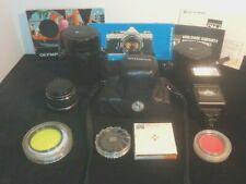 New ListingCir 1985 Olympus Om-1 Film Camera w/Multiple Lens & Accessories.Estate Find