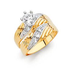 Women 14k 2 Tone Gold Solitaire Round Cz Bridal Set Wedding Engagement Ring Band