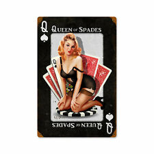 Queen Of Spades Pik Glücksspiel Poker Pin Up Art Retro Sign Blechschild Schild