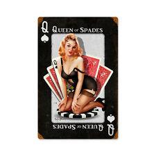 Queen of Spades picche gioco d'azzardo poker PIN UP TIPO Retrò SIGN IN LAMIERA SCUDO SCUDO