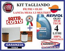 KIT TAGLIANDO LANCIA MUSA 1.3 MULTIJET  FILTRI + OLIO REPSOL 5W40 SINTETICO