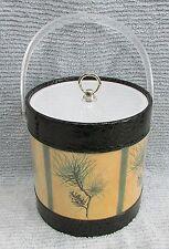 Retro Pine Cone Needle Black Faux Alligator Clear Acrylic Ice Bucket Free S/H